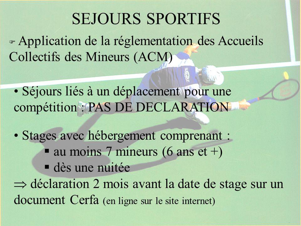 SEJOURS SPORTIFS  Application de la réglementation des Accueils Collectifs des Mineurs (ACM)