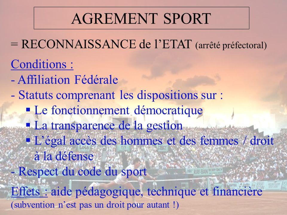 AGREMENT SPORT = RECONNAISSANCE de l'ETAT (arrêté préfectoral)
