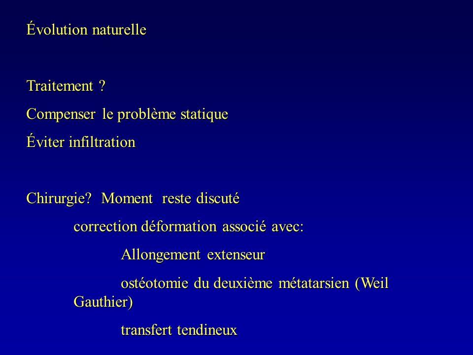 Évolution naturelle Traitement Compenser le problème statique. Éviter infiltration. Chirurgie Moment reste discuté.