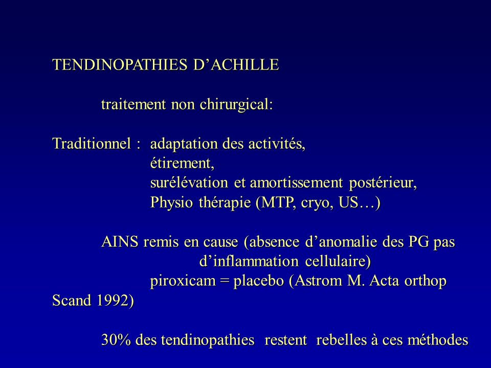 TENDINOPATHIES D'ACHILLE