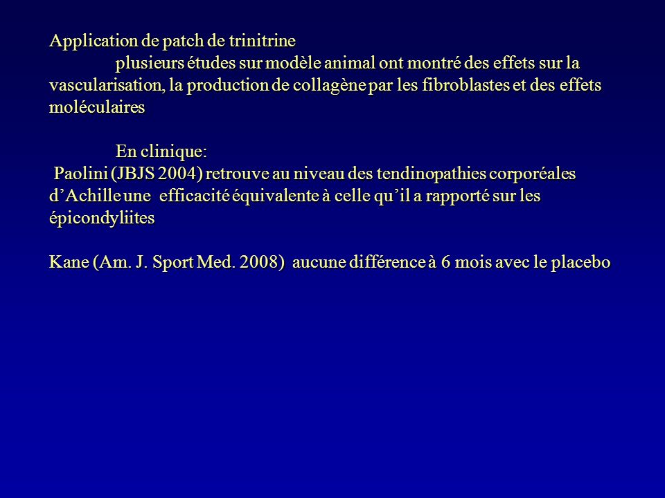 Application de patch de trinitrine