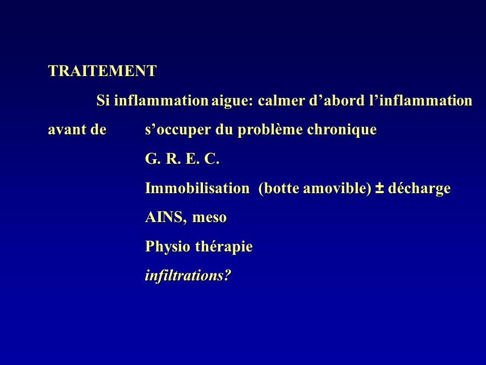 TRAITEMENT Si inflammation aigue: calmer d'abord l'inflammation avant de s'occuper du problème chronique.