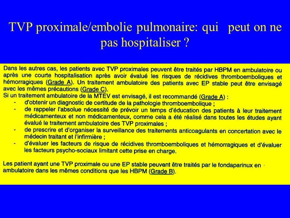 TVP proximale/embolie pulmonaire: qui peut on ne pas hospitaliser