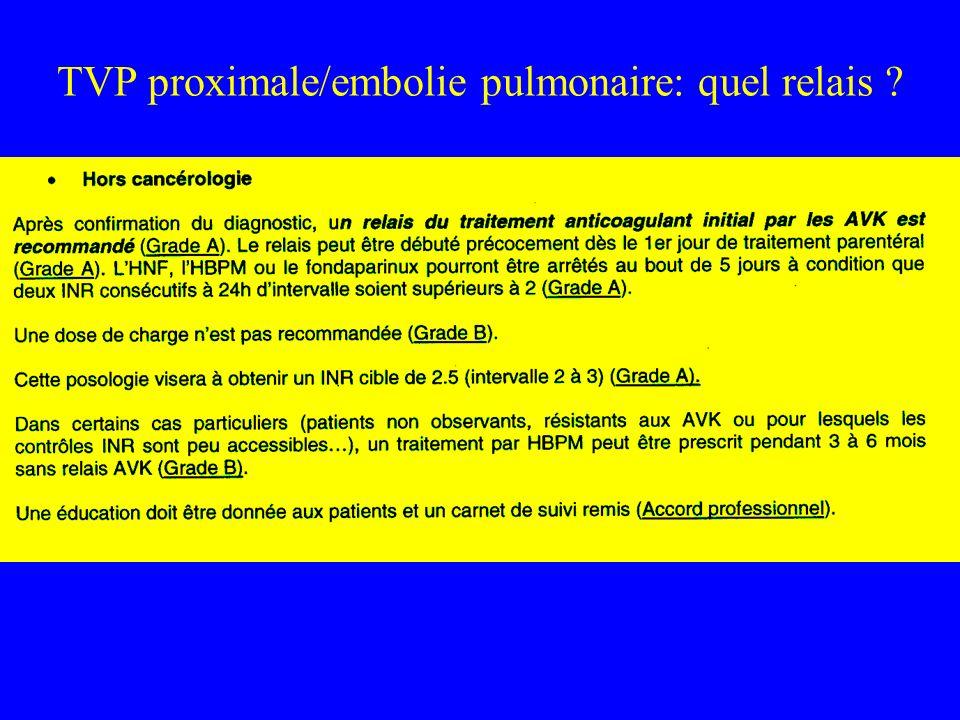 TVP proximale/embolie pulmonaire: quel relais