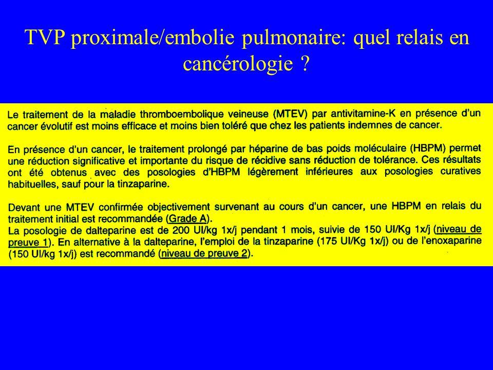 TVP proximale/embolie pulmonaire: quel relais en cancérologie