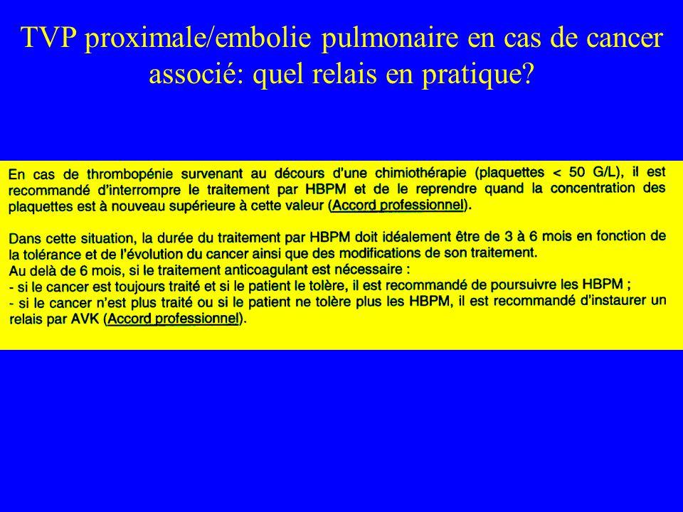 TVP proximale/embolie pulmonaire en cas de cancer associé: quel relais en pratique