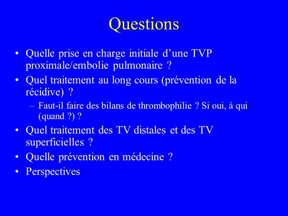 Questions Quelle prise en charge initiale d'une TVP proximale/embolie pulmonaire Quel traitement au long cours (prévention de la récidive)
