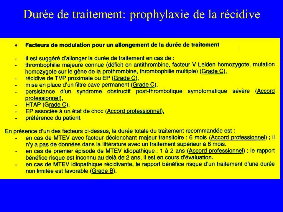 Durée de traitement: prophylaxie de la récidive
