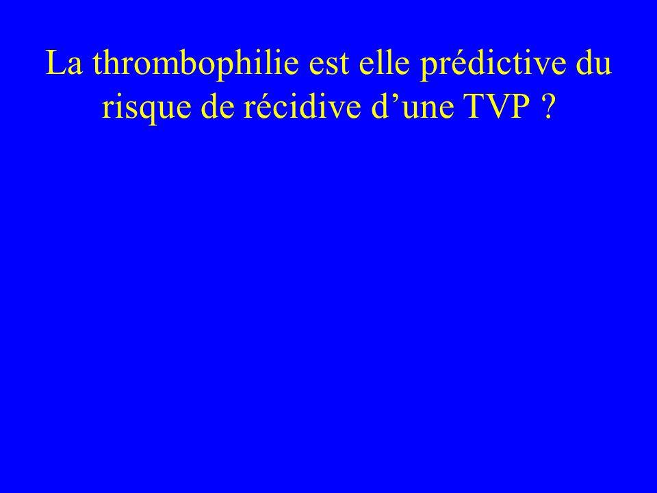 La thrombophilie est elle prédictive du risque de récidive d'une TVP