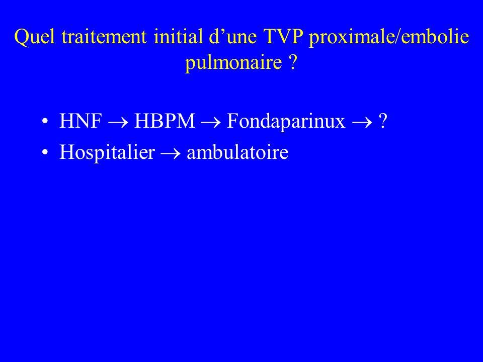 Quel traitement initial d'une TVP proximale/embolie pulmonaire