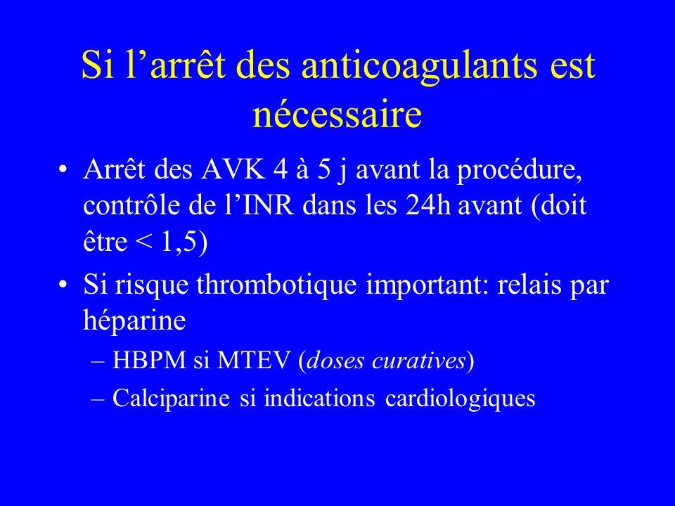 Si l'arrêt des anticoagulants est nécessaire