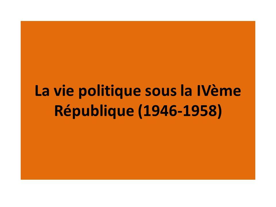 La vie politique sous la IVème République (1946-1958)