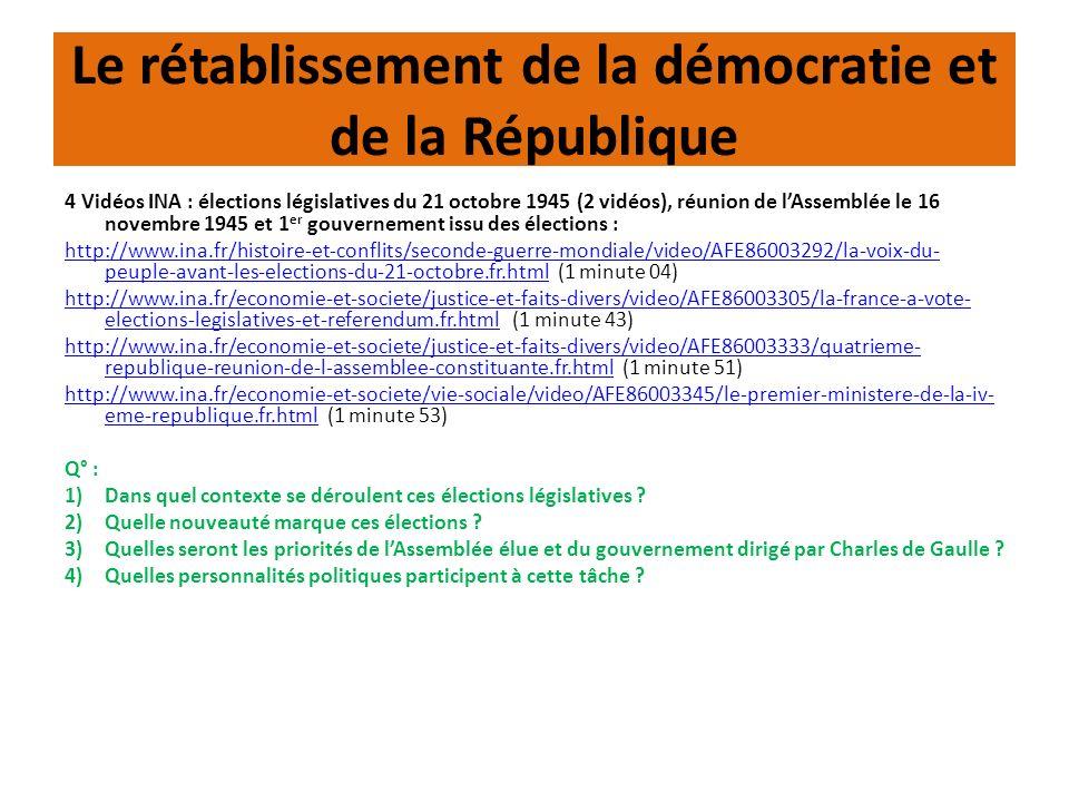 Le rétablissement de la démocratie et de la République