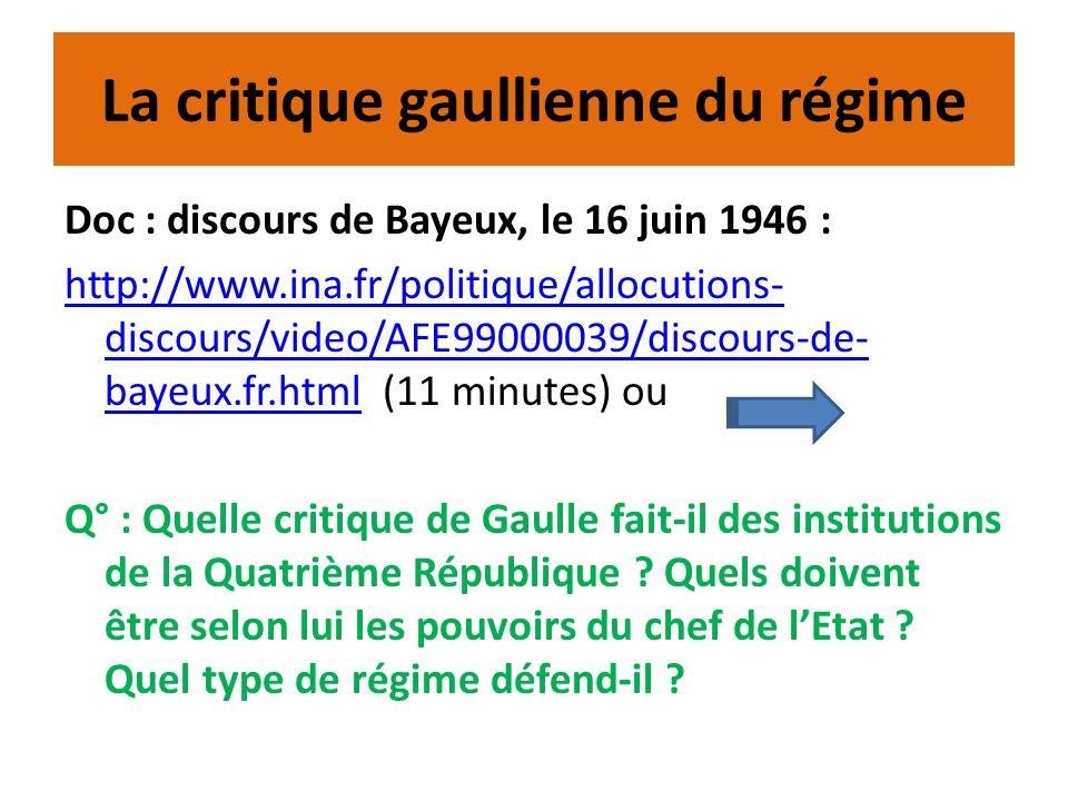 La critique gaullienne du régime