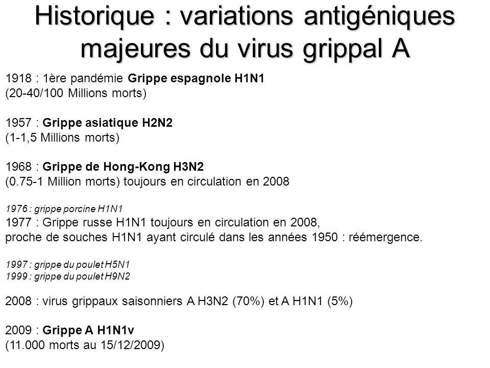 Historique : variations antigéniques majeures du virus grippal A