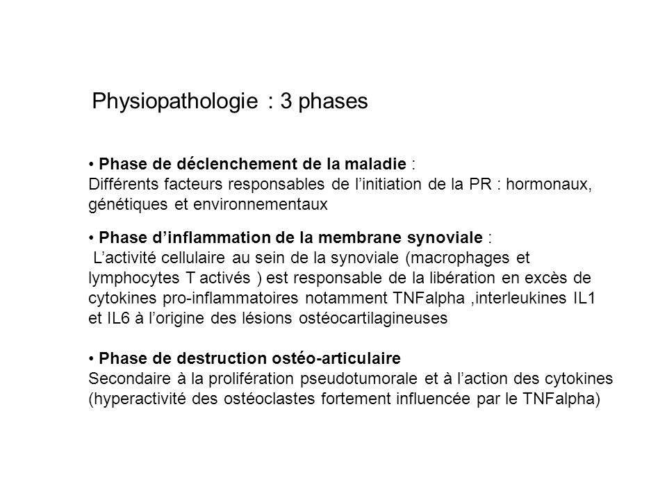 Physiopathologie : 3 phases