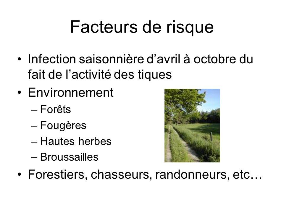 Facteurs de risque Infection saisonnière d'avril à octobre du fait de l'activité des tiques. Environnement.