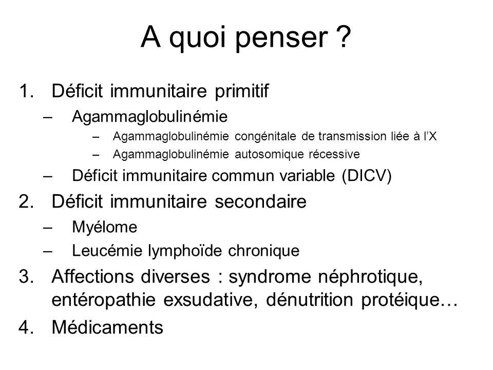 A quoi penser Déficit immunitaire primitif