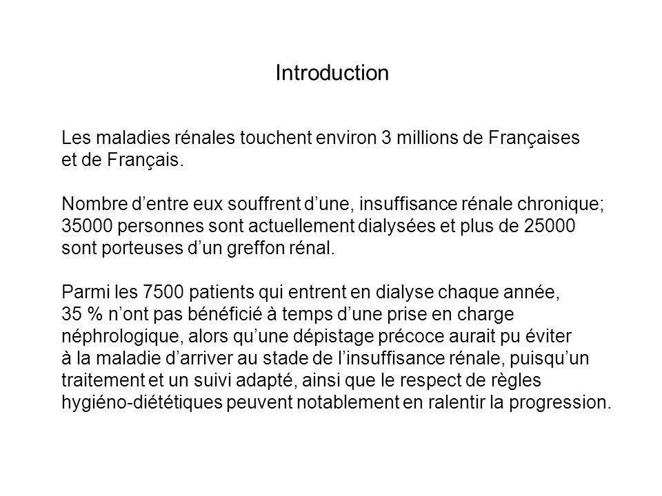 Introduction Les maladies rénales touchent environ 3 millions de Françaises. et de Français.