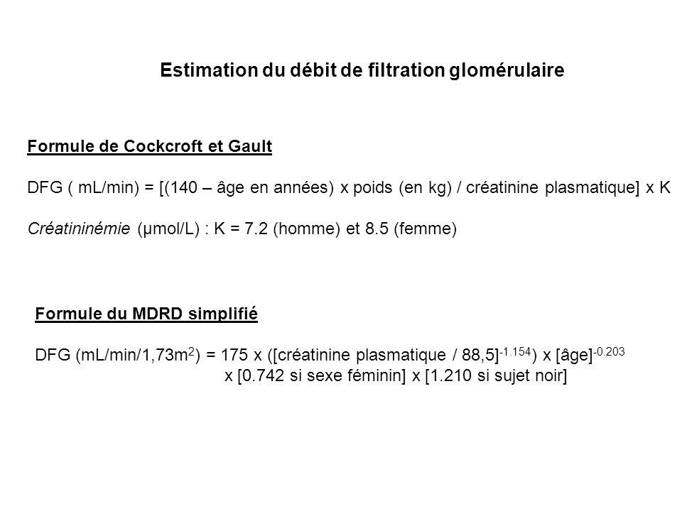 Estimation du débit de filtration glomérulaire