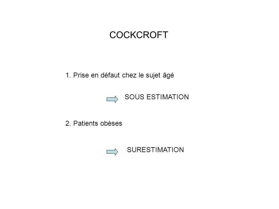 COCKCROFT 1. Prise en défaut chez le sujet âgé SOUS ESTIMATION