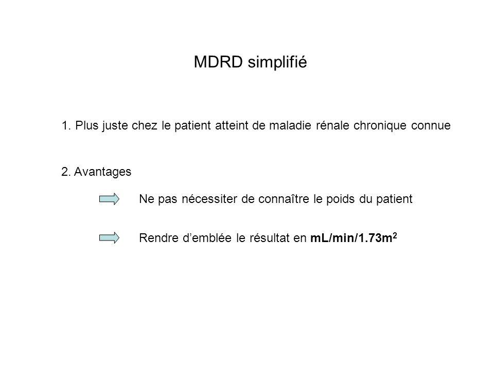 MDRD simplifié 1. Plus juste chez le patient atteint de maladie rénale chronique connue. 2. Avantages.