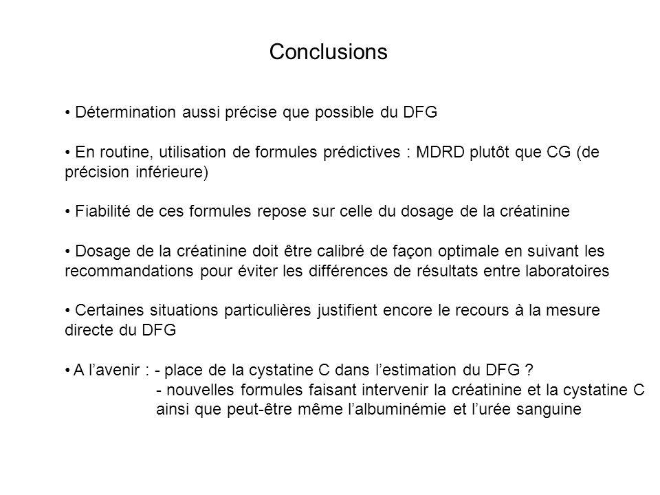 Conclusions Détermination aussi précise que possible du DFG