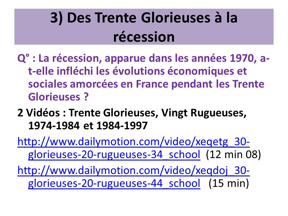 3) Des Trente Glorieuses à la récession
