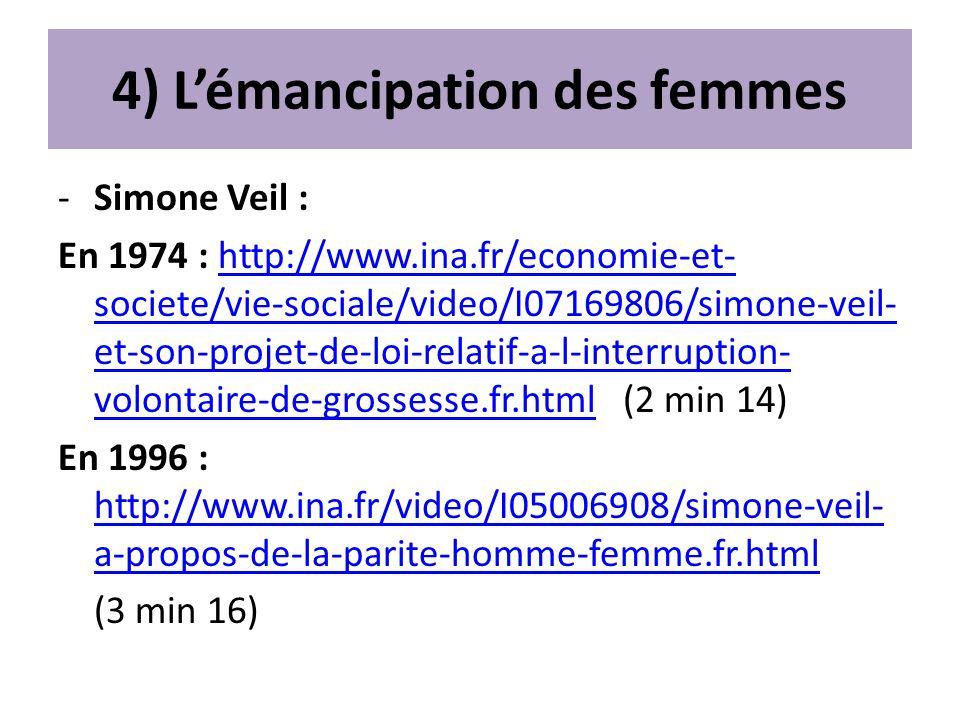 4) L'émancipation des femmes
