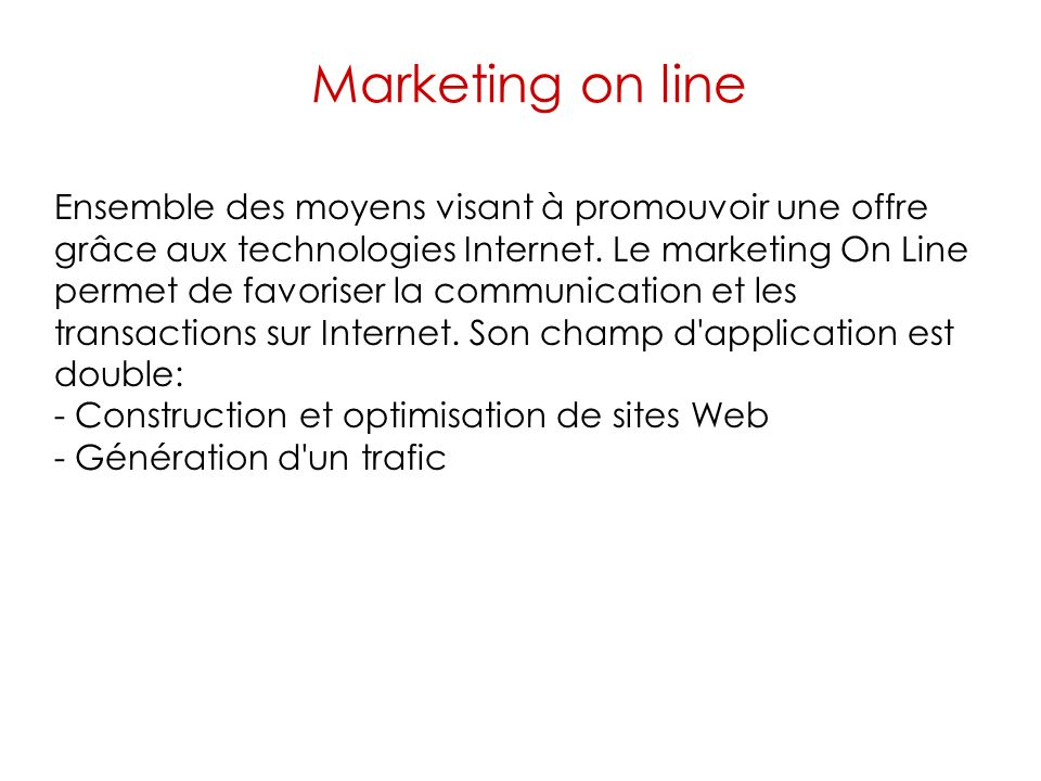 Marketing on line