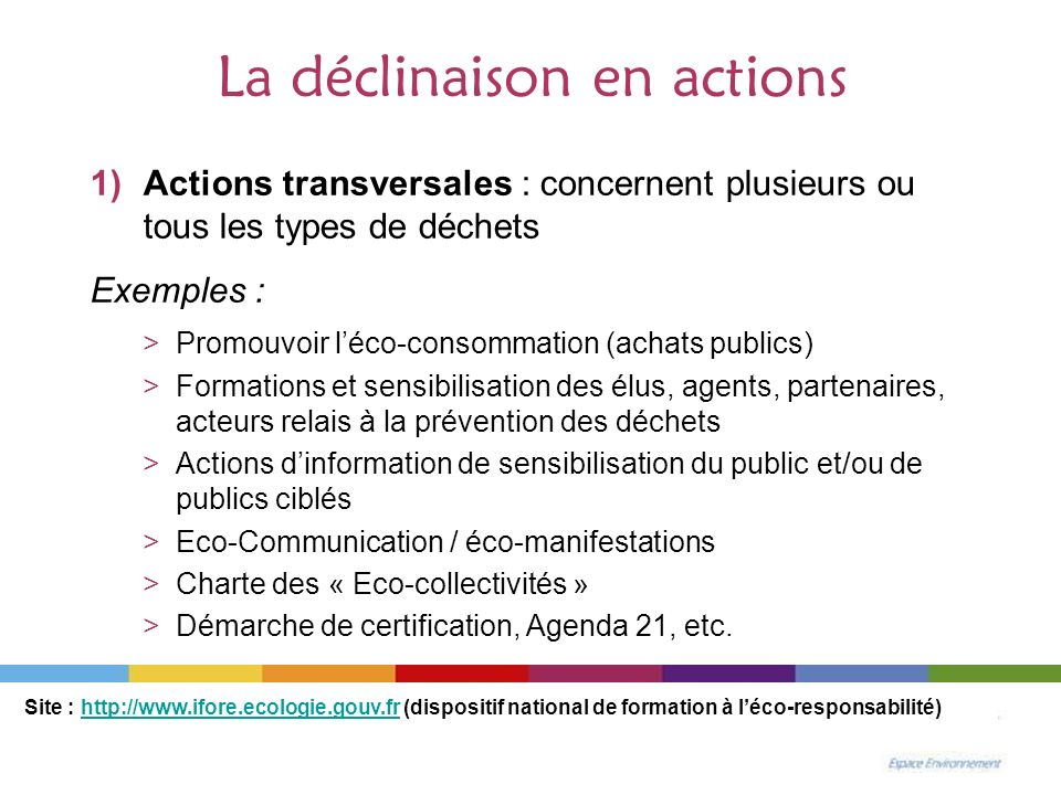 La déclinaison en actions