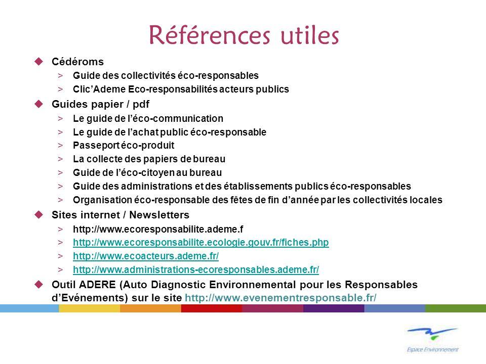 Références utiles Cédéroms Guides papier / pdf