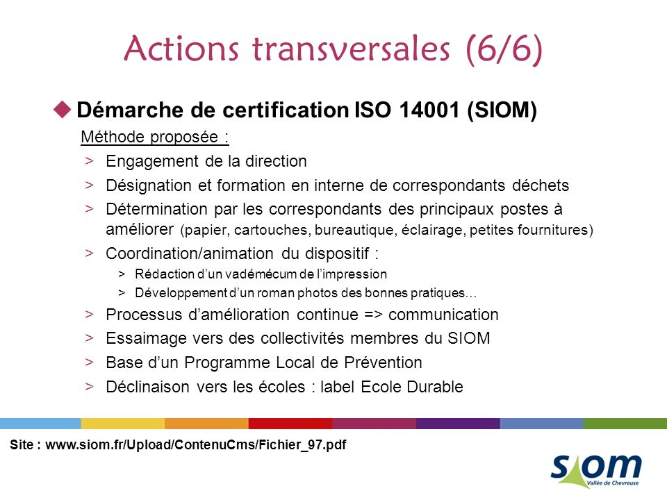 Actions transversales (6/6)