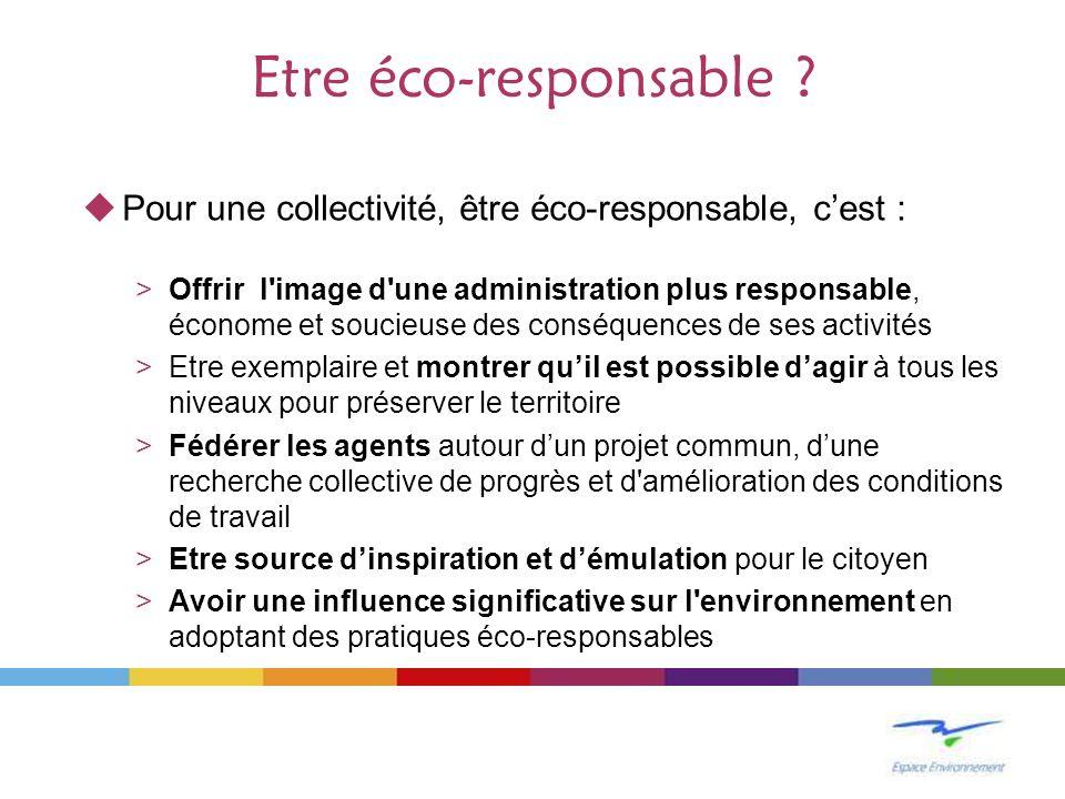 Etre éco-responsable Pour une collectivité, être éco-responsable, c'est :