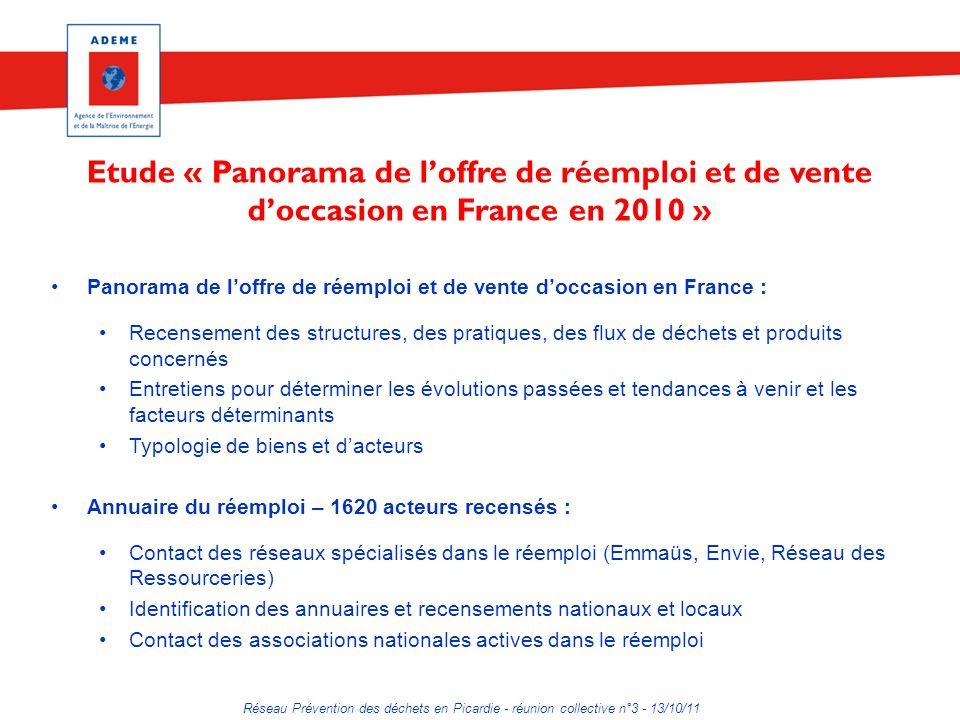 Etude « Panorama de l'offre de réemploi et de vente d'occasion en France en 2010 »