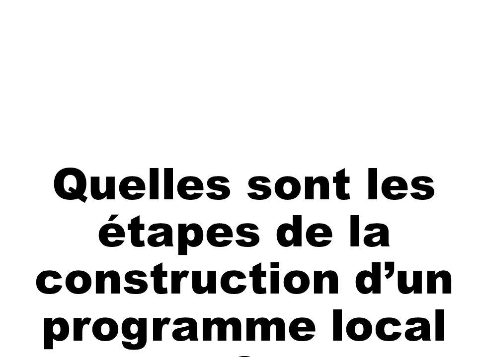 Quelles sont les étapes de la construction d'un programme local