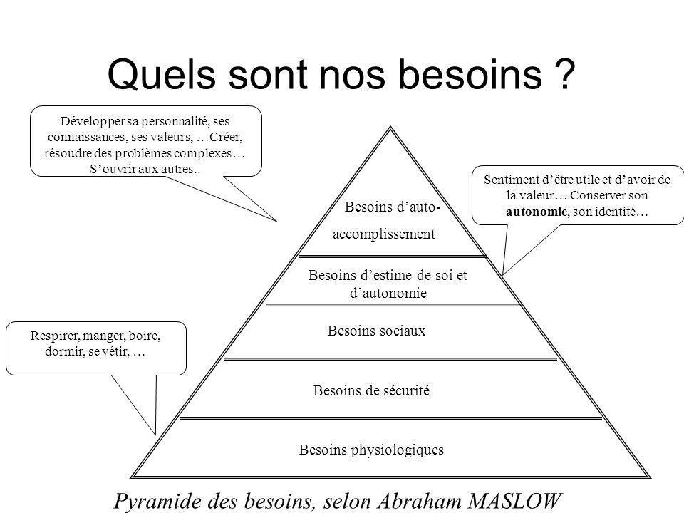 Quels sont nos besoins Pyramide des besoins, selon Abraham MASLOW