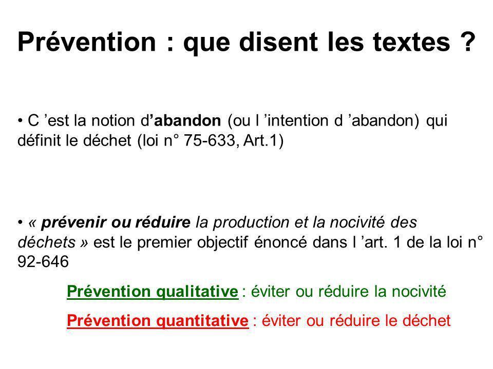 Prévention : que disent les textes
