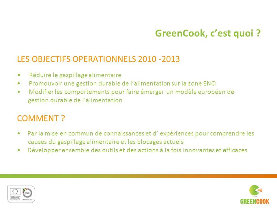 GreenCook, c'est quoi LES OBJECTIFS OPERATIONNELS 2010 -2013