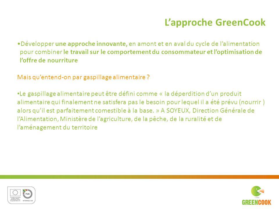 L'approche GreenCook Développer une approche innovante, en amont et en aval du cycle de l'alimentation.