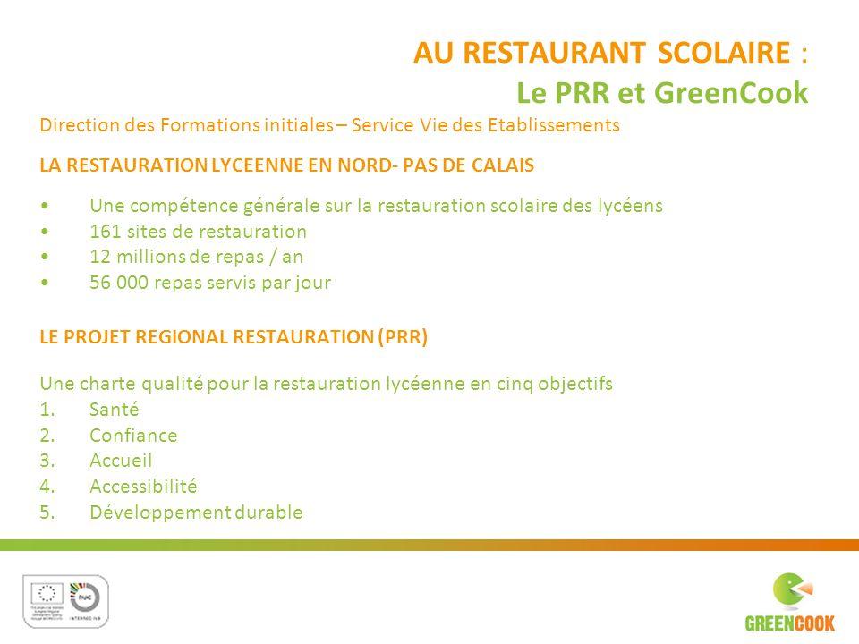AU RESTAURANT SCOLAIRE : Le PRR et GreenCook