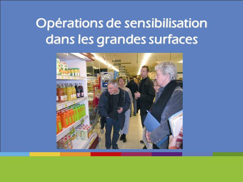 Opérations de sensibilisation dans les grandes surfaces
