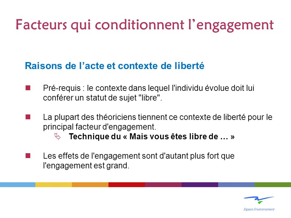 Facteurs qui conditionnent l'engagement