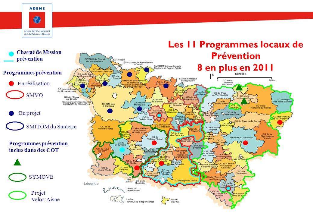 Les 11 Programmes locaux de Prévention 8 en plus en 2011