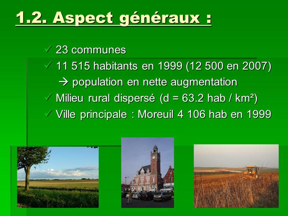 1.2. Aspect généraux : 23 communes