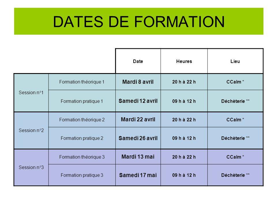 DATES DE FORMATION Mardi 8 avril Samedi 12 avril Mardi 22 avril