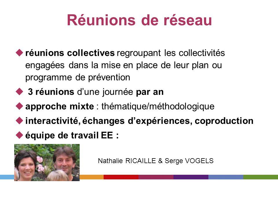 Réunions de réseau réunions collectives regroupant les collectivités engagées dans la mise en place de leur plan ou programme de prévention.