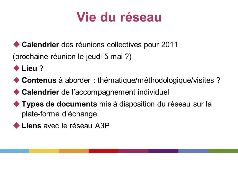 Vie du réseau Calendrier des réunions collectives pour 2011
