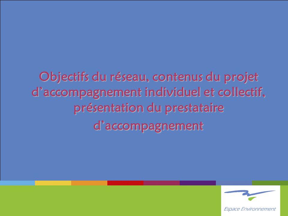 Objectifs du réseau, contenus du projet d'accompagnement individuel et collectif, présentation du prestataire d'accompagnement