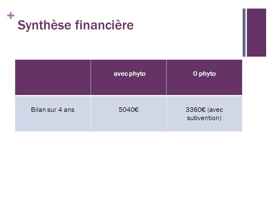 Synthèse financière avec phyto 0 phyto Bilan sur 4 ans 5040€
